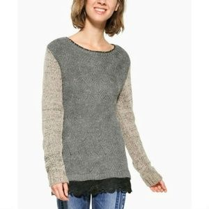 [Desigual] Samuel Colorblock Lace Hem Sweater